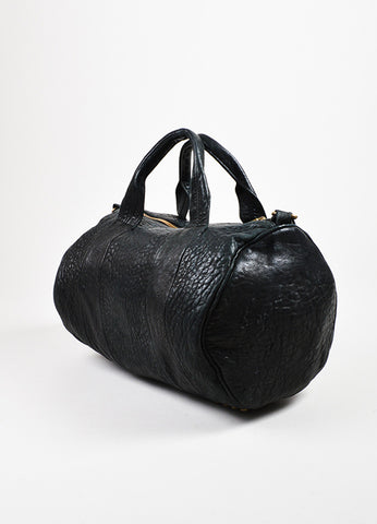 "Alexander Wang Black Pebbled Leather ""Rocco"" Duffel Bag Sideview"