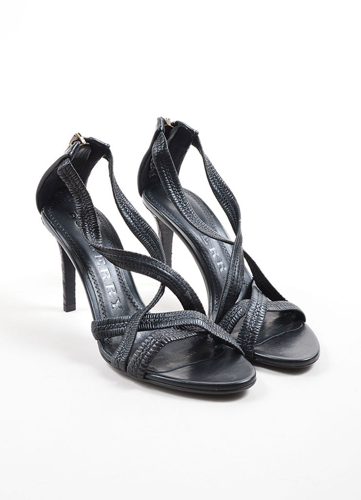 Burberry Black Leather Plisse Strappy Heeled Sandals Frontview