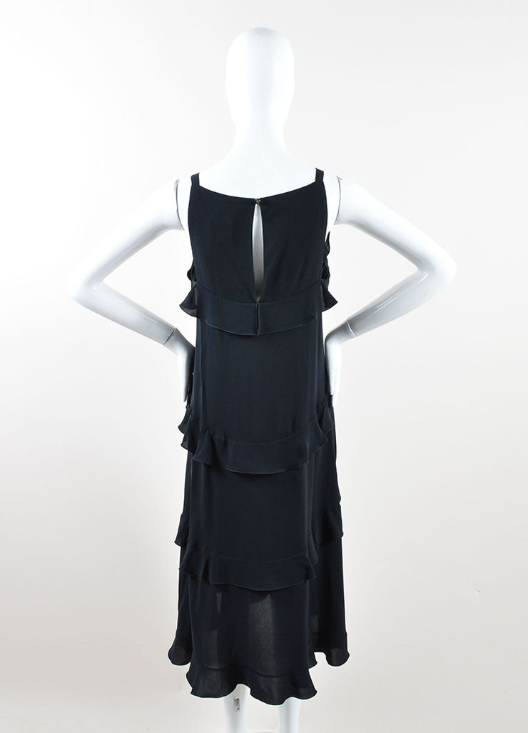 Chanel Black Silk Ruffle Trim Sleeveless Belted Midi Dress Backview