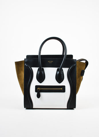 "Celine Brown, Black, and White Calfskin Leather ""Micro Luggage"" Tote Frontview"