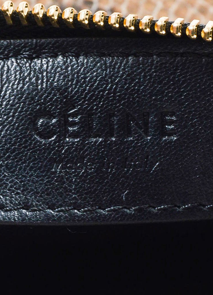 "Celine Brown Python 3 Compartment Detachable ""Trio"" Crossbody Clutch Bag Brand"