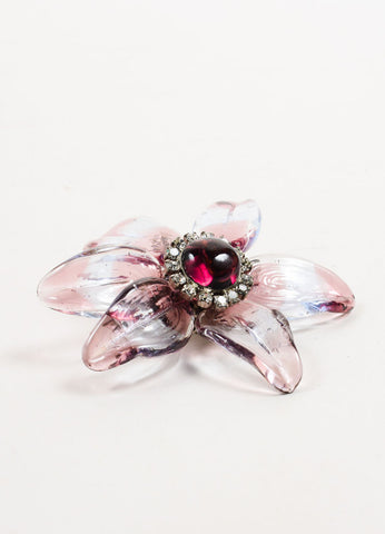 Chanel Purple Translucent Stripe Rhinestone Embellished Flower Brooch Sideview