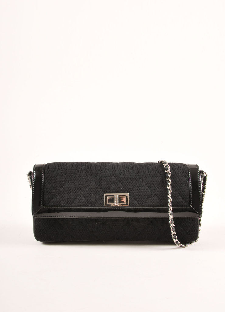 Chanel Black Quilted Knit and Patent Leather Trim Chain Strap East-West Bag Frontview