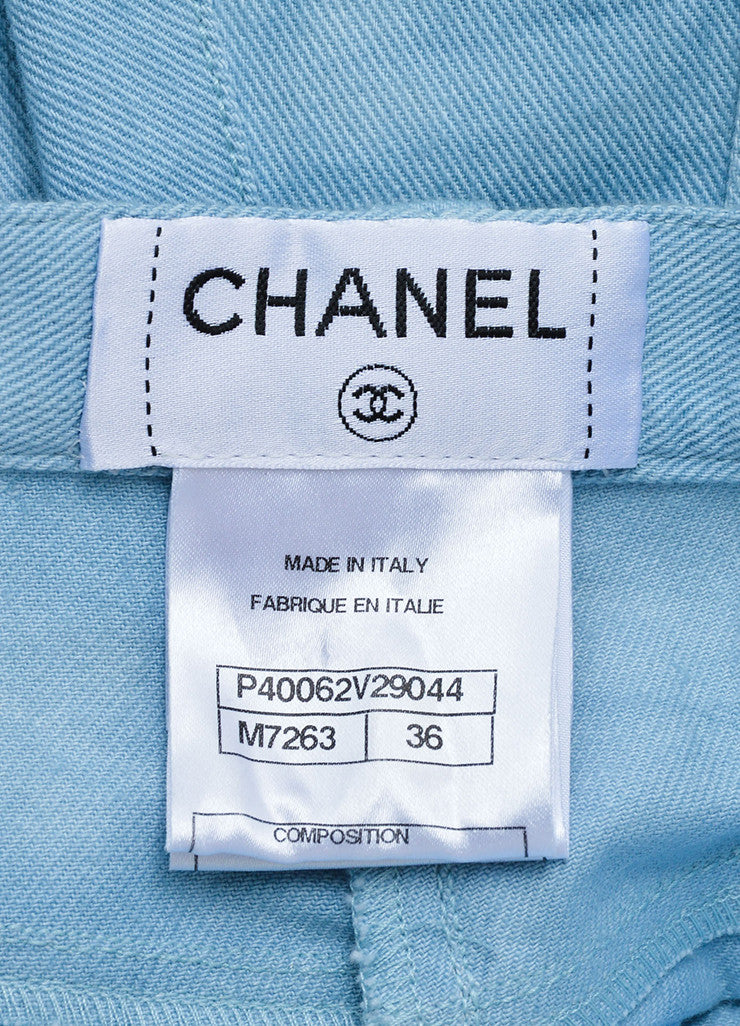 "Chanel Blue Cotton Wide Leg ""CC"" Rhinestone Embellished Frayed Hem Jeans Brand"