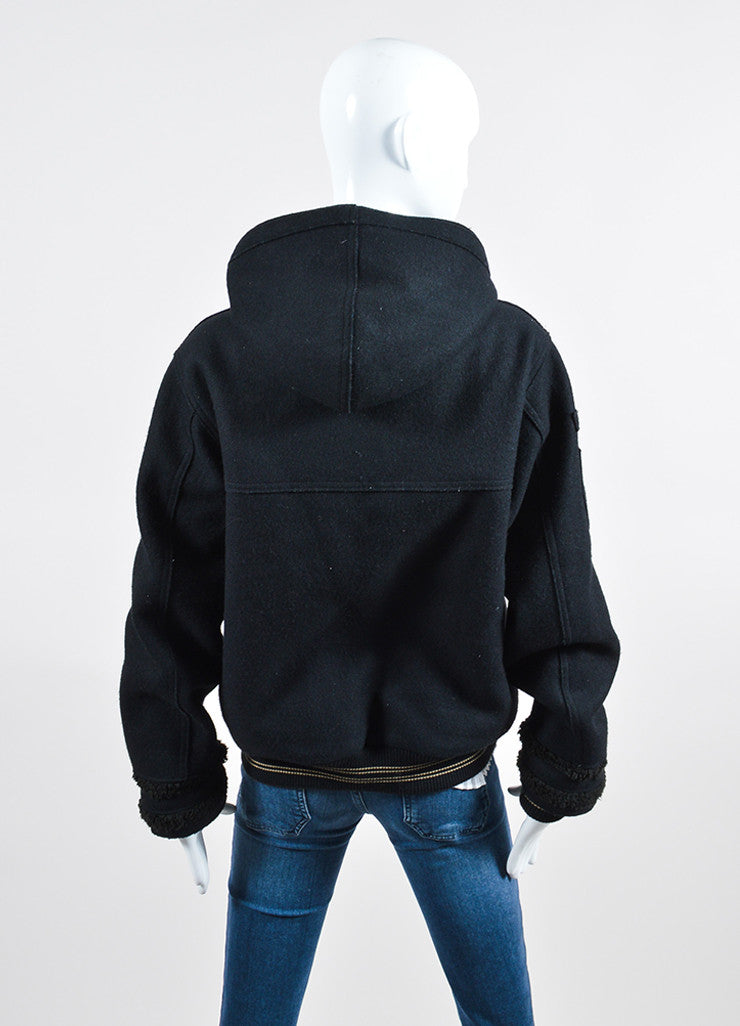 Black Chanel Wool and Faux Shearling Hooded Varsity Jacket Backview