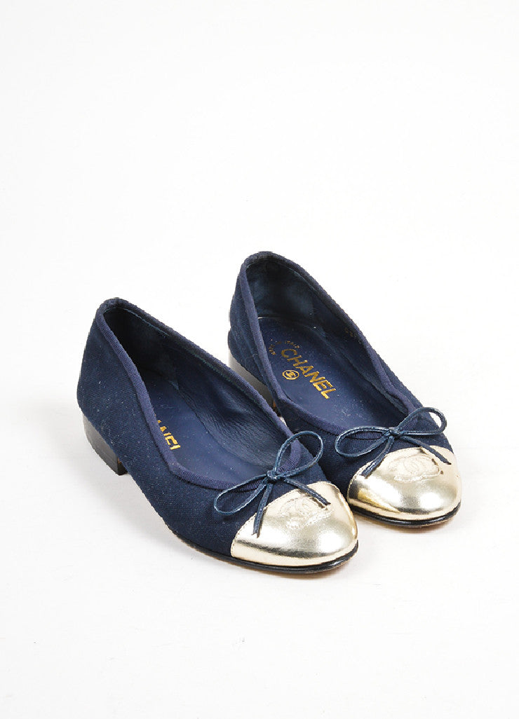 Navy Blue and Silver Chanel Canvas Metallic Leather Cap Toe Ballerina Flats Frontview