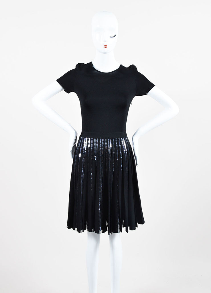 Black Christian Dior Sequin Detail Pleated Short Sleeve Dress Frontview