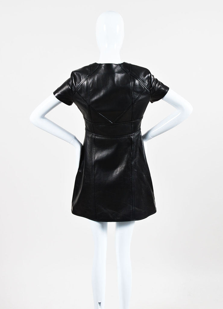 Christian Dior Black Leather Paneled Zip Up Short Sleeve Dress backview