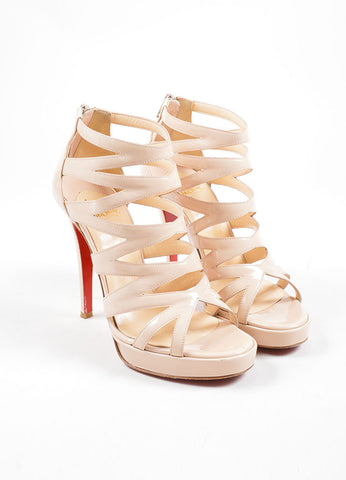 "Christian Louboutin Beige Patent Leather ""Fernando 120"" Cage Heels Frontview"