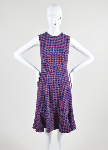 "Multicolor Erdem Tweed Houndstooth Sleeveless ""Jana"" Fluted Dress Front 2"