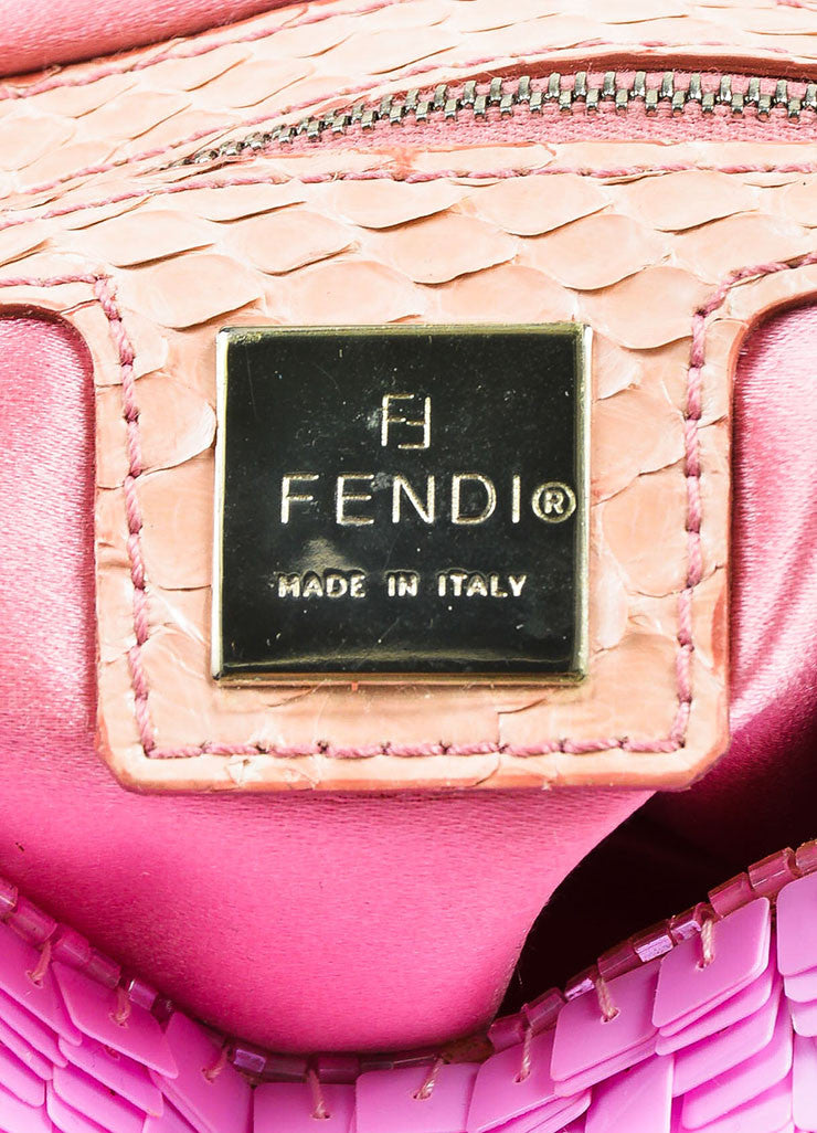 "Fendi Pink Blush Sequin Python Silver Toned 'FF' Flap ""Baguette"" Shoulder Bag Brand"