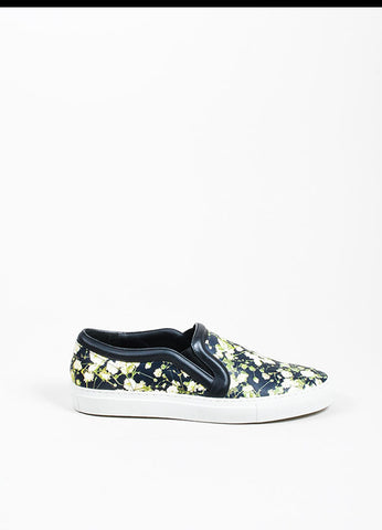 Black Givenchy Leather Baby's Breath Print Slip On Skate Sneakers Sideview