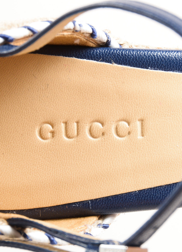 Gucci Blue and White Leather Raffia Espadrille 85mm Wedge Sandals Brand