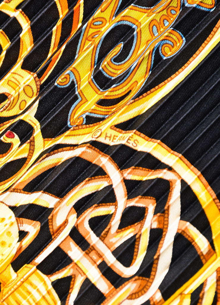 "Hermes Black, Gold, and Orange Silk Plisse Print ""La Charmante Aux Animaux"" Scarf Detail 2"