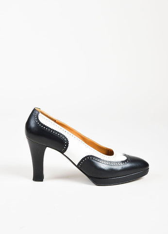 Hermes Black and White Leather Almond Toe Brogues Platform Heels Sideview