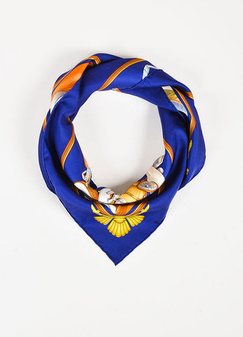 "Hermes Navy and Multicolor Silk Printed ""Automobile"" Scarf Frontview"