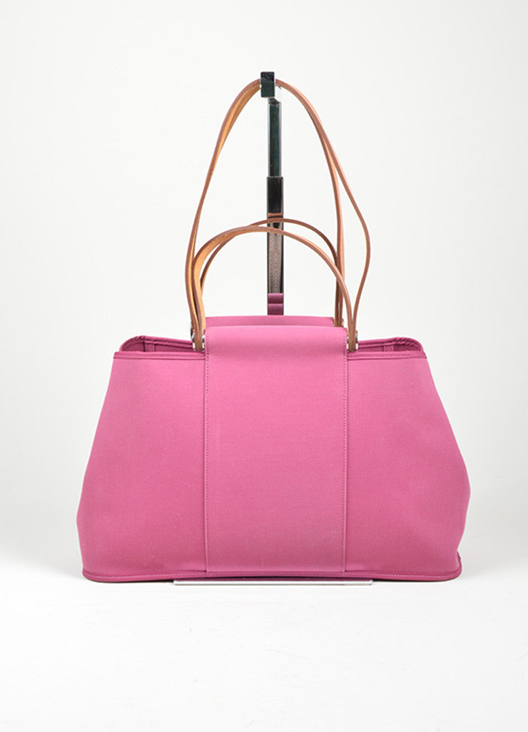 "Pink Canvas Hermes ""Cabas Elan"" Tote Bag Frontview"
