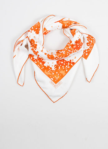 "White, Orange, and Tan Hermes Silk Three Leaves ""Trois Feuilles"" 90cm Square Scarf Frontivew"