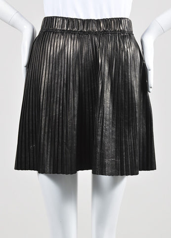 Isabel Marant Black Leather Knife Pleatet A Line Mini Skirt Front 2