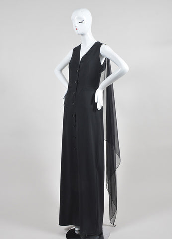 Black Jean Paul Gaultier Wool and Silk Chiffon Shirt Gown Sideview