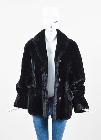 Jil Sander Black Mouton Mink Fur Short Coat Front