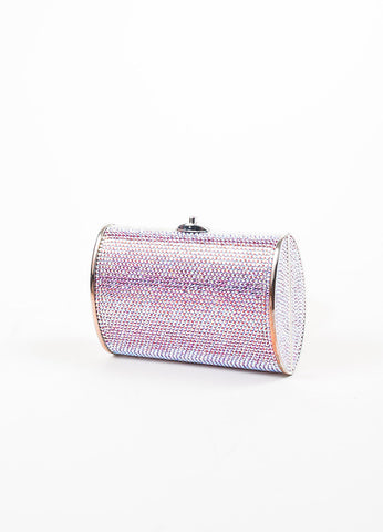 Judith Leiber Pink, Purple, and Silver Rhinestone Clutch Minaudiere Evening Bag Sideview