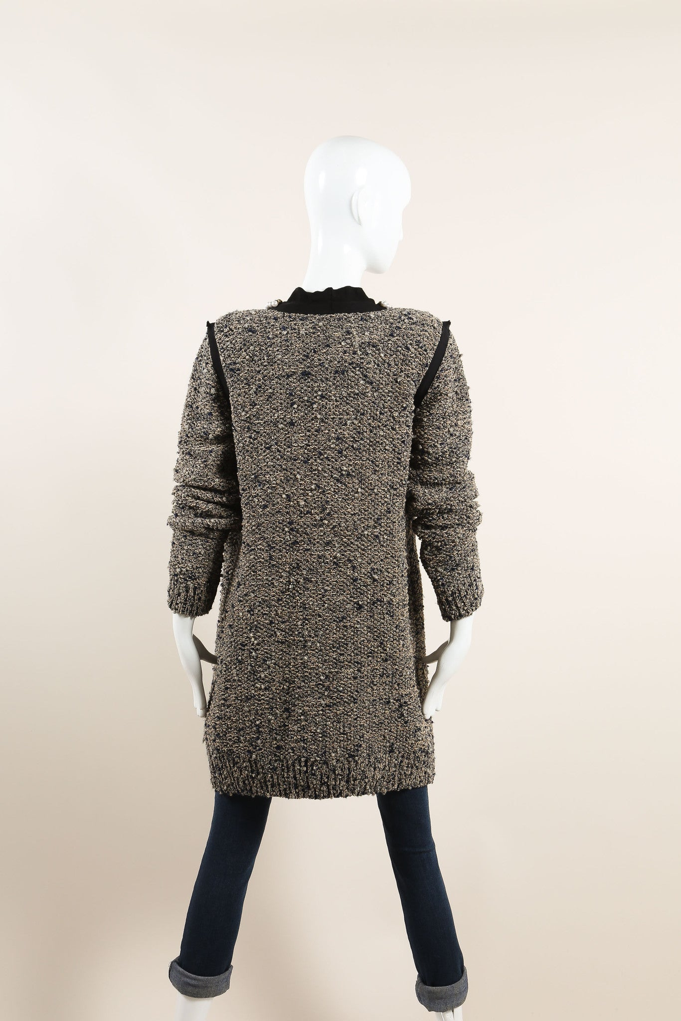 Lanvin Beige and Navy Wool and Silk Tweed Metallic Pearl Chain Trim Jacket Backview