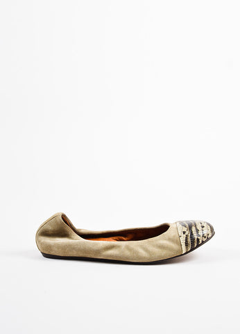 Lanvin Camel White and Black Suede and Snakeskin Cap Toe Ballet Flats Sideview
