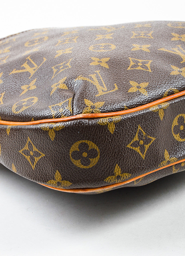 "Louis Vuitton Brown and Tan Monogram Canvas Leather Trim ""Odeon PM"" Shoulder Bag Detail"