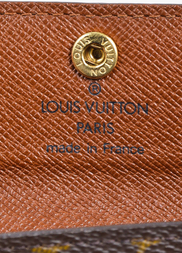 Brown and Tan Louis Vuitton Monogram Coated Canvas Small Snap Card Wallet Brand