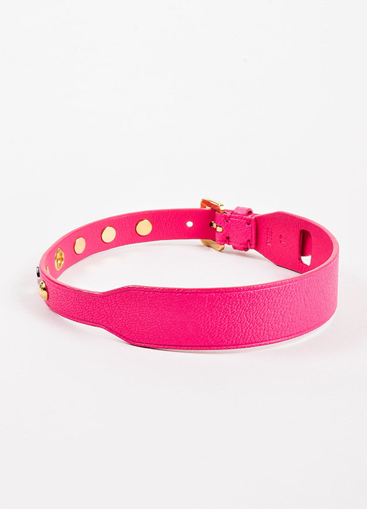 Louis Vuitton Pink, Gold Toned, and Silver Toned Leather Studded Dog Collar Backview