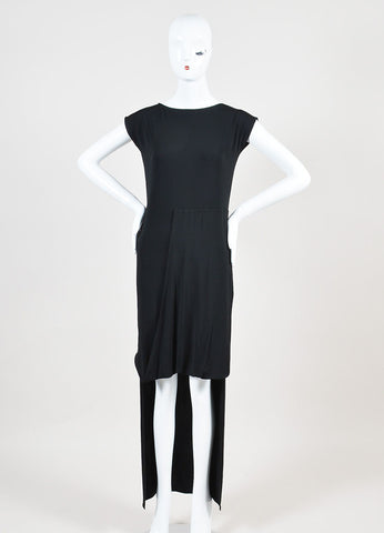 Maison Martin Margiela Black Jersey Gathered Drape High Low Short Sleeve Dress Frontview