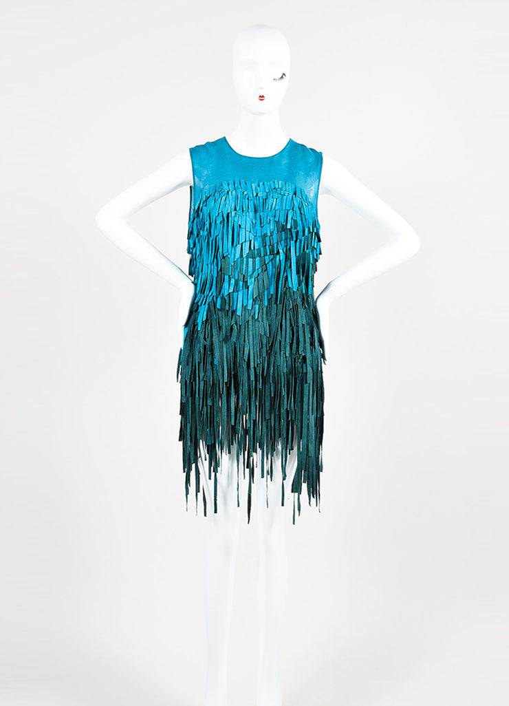 Teal and Green Mathieu Mirano Suede and Silk Sleeveless Fringe Tunic Dress  Frontview