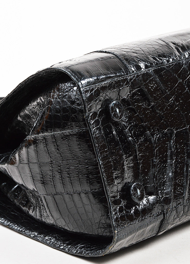 Nancy Gonzalez Black Crocodile Leather Tote Bag Detail