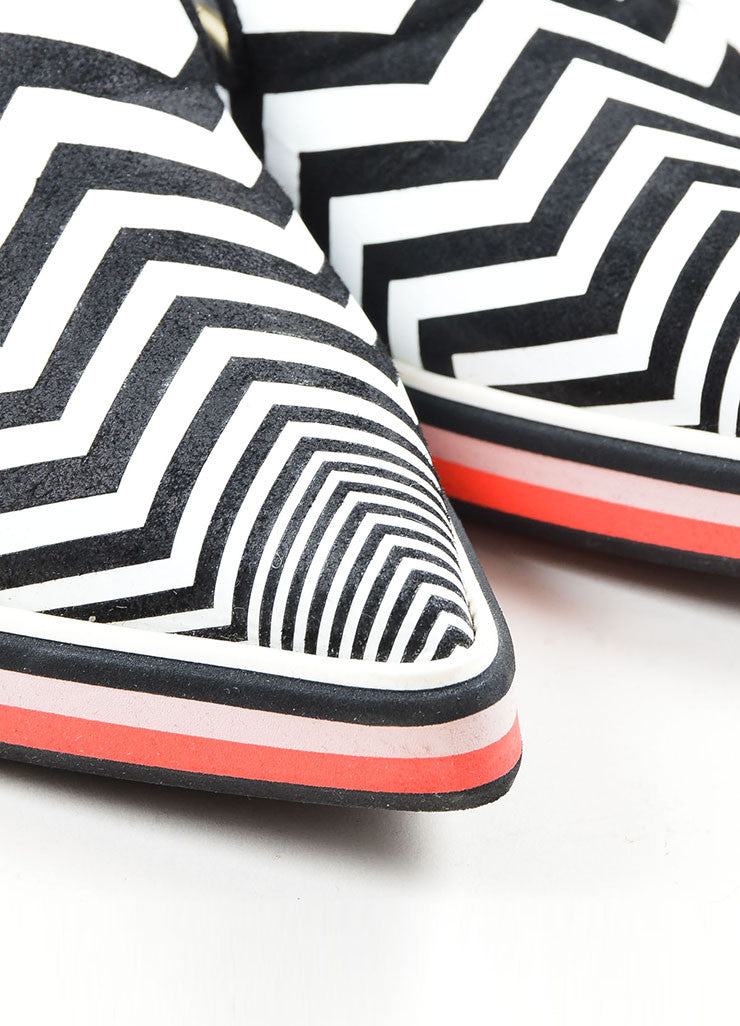 "Black and White Nicholas Kirkwood Chevron Pointed Toe ""Alona"" Loafers Detail"