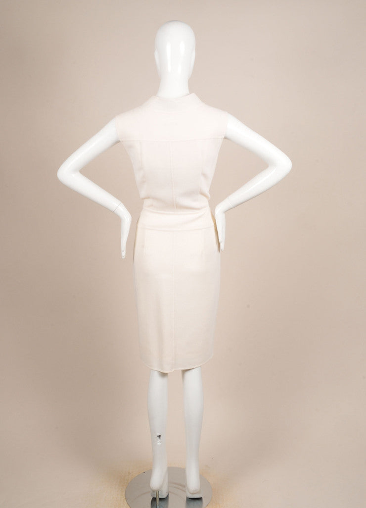 Oscar de la Renta Cream Zip Sleeveless Dress Backview