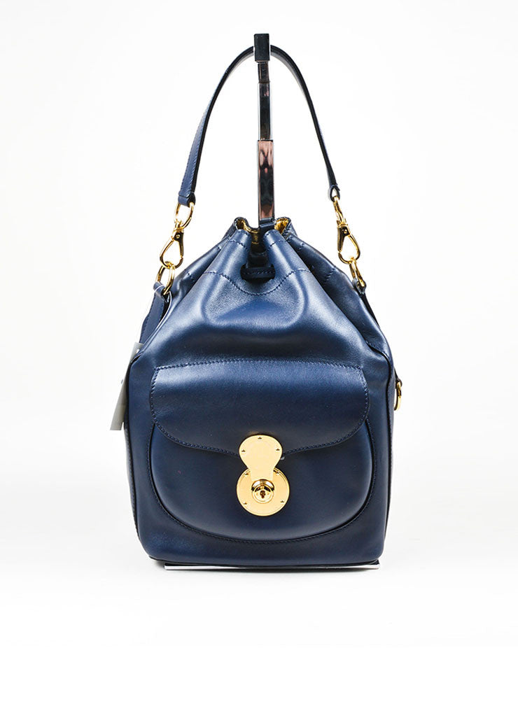 """Cadet Blue"" Ralph Lauren Leather ""Ricky Drawstring"" Bucket Bag Frontview"