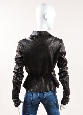 Roberto Cavalli Black Leather Floral Perforated Belted Jacket Backview