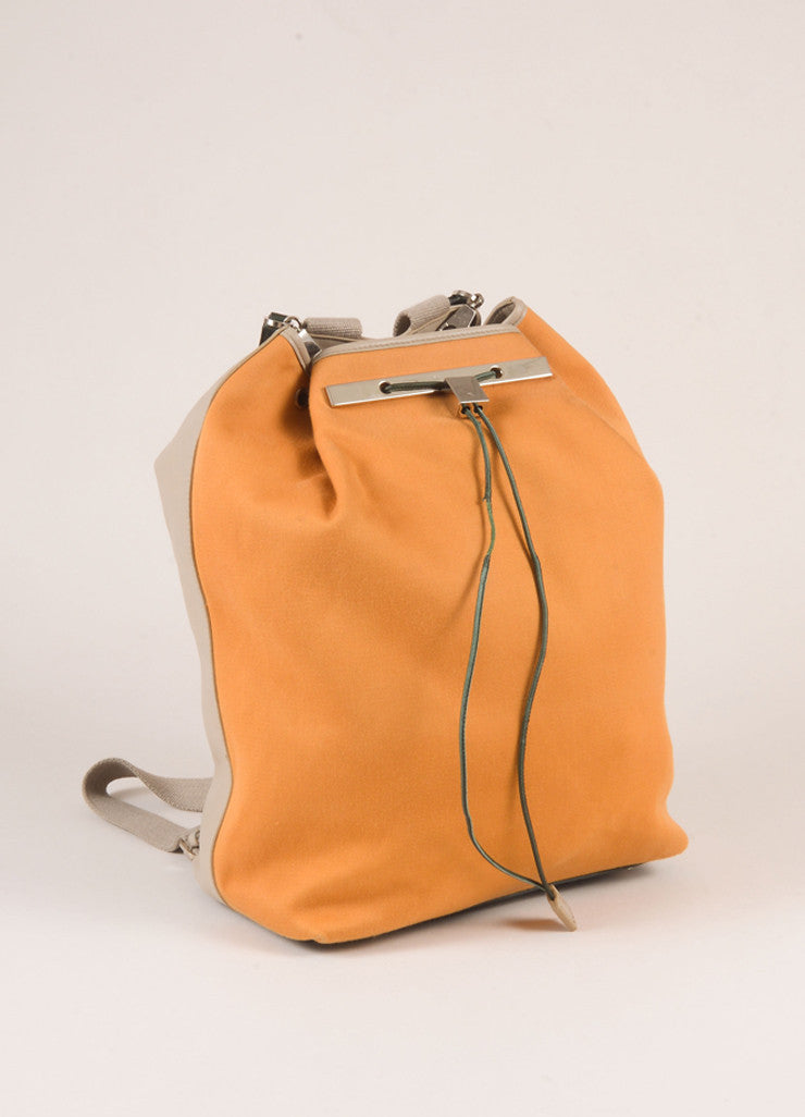 The Row Orange and Grey Cotton and Leather Drawstring Backpack Sideview