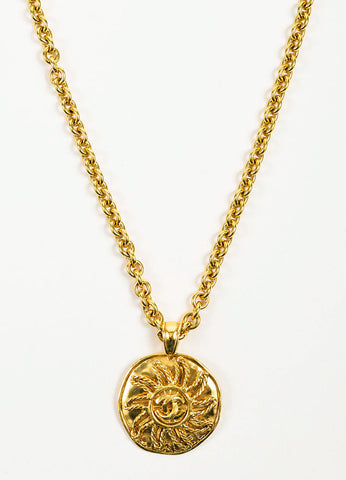Gold Toned Chanel 'CC' Logo Sun Round Pendant Necklace Detail