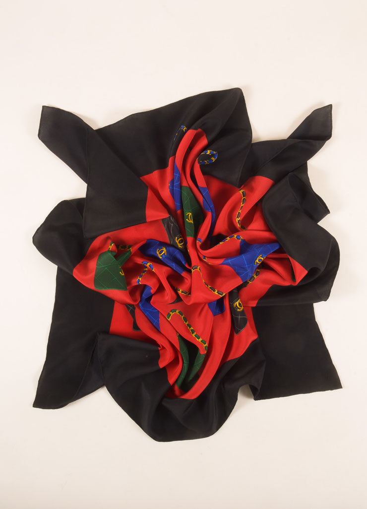 Chanel Red, Black, and Multicolor Bag Print Silk Scarf Frontview