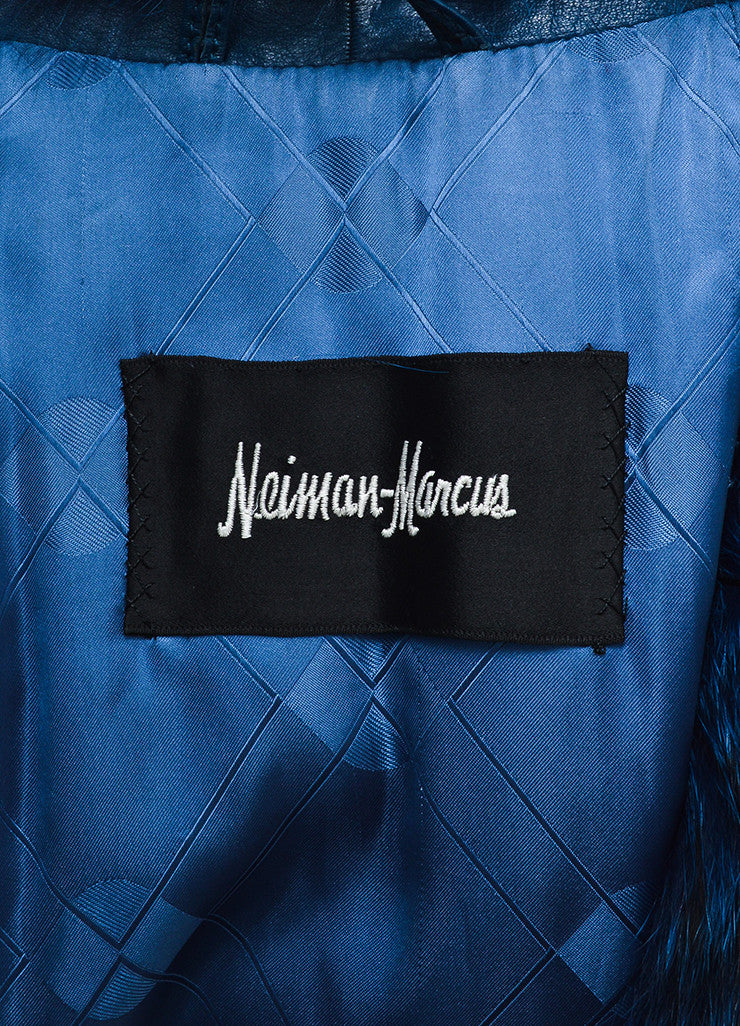 Blue and Black Neiman Marcus Zig Zag Stripe Fur Coat Brand