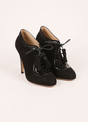Valentino Black Suede and Patent Leather Lace Up High Heel Ankle Booties Frontview