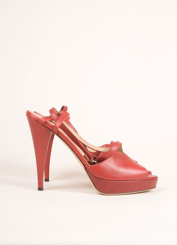Valentino Red Leather Peep Toe Slingback Platform Pumps Sideview