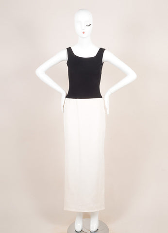 Vera Wang Black and White Silk Sleeveless Full Length Gown Dress Frontview