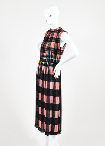 Pink and Black VICTORIA Victoria Beckham Plaid Dress Side