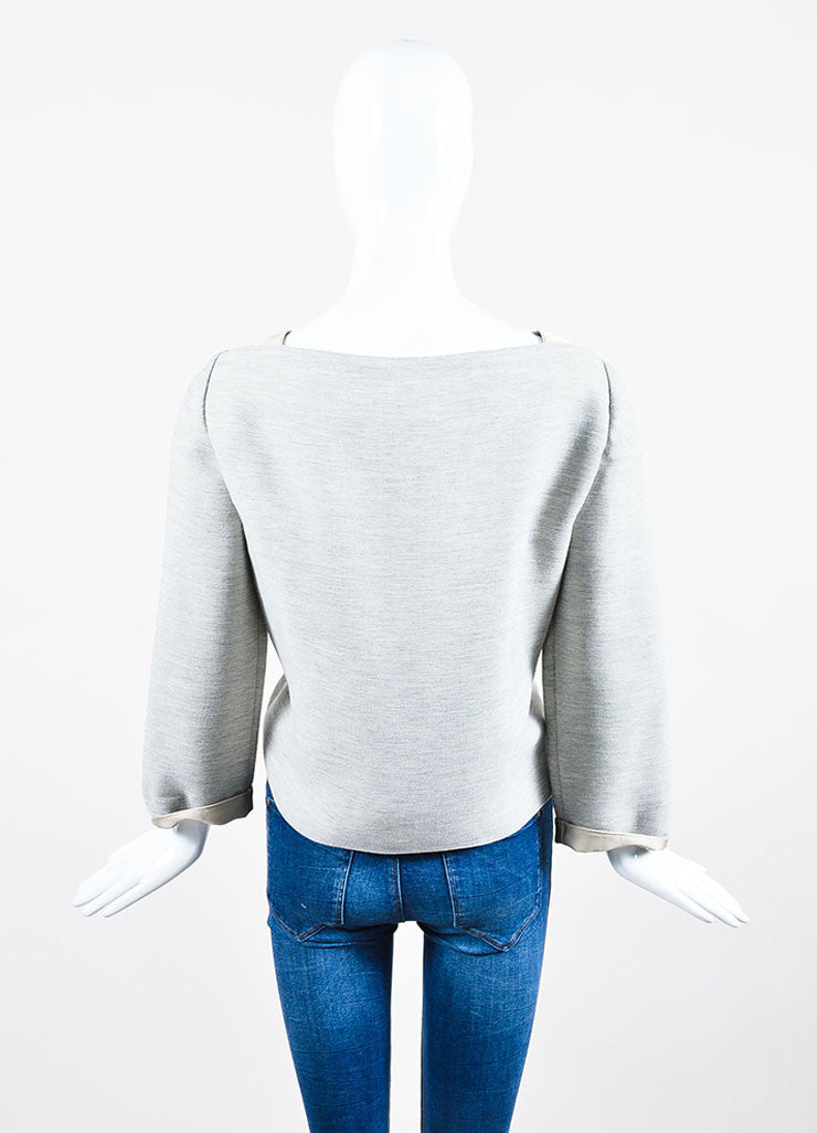 Grey and Sand Taupe Wes Gordon Wool Blend Twill Broad Neck Sweater Backview