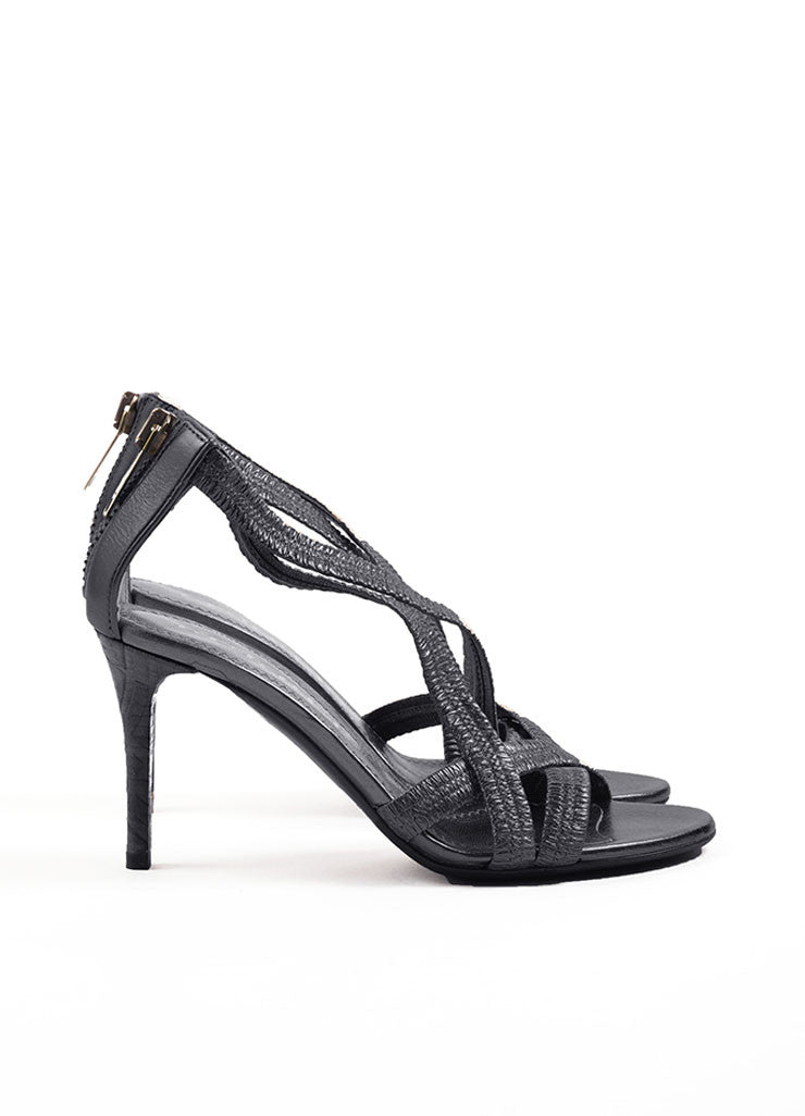 Burberry Black Leather Plisse Strappy Heeled Sandals Sideview