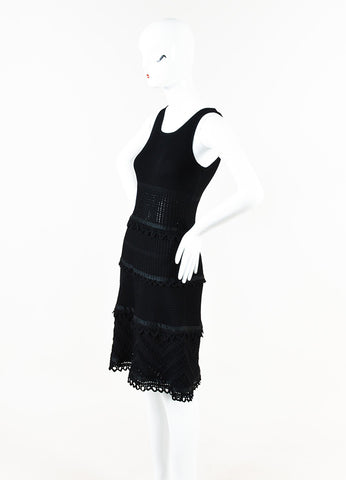 Chanel Black Crochet Knit Sleeveless Scoop Neck Sleeveless Dress Side