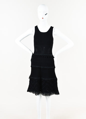 Chanel Black Crochet Knit Sleeveless Scoop Neck Sleeveless Dress Front